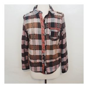 Free People Patchwork Button Down
